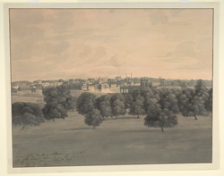 'View of the modern (European-built) city of Lucknow taken from the Park of the Vizier's new Palace of Castle Cool'